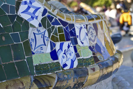 BARCELONA,SPAIN  Detail of the bench in the park Guell, designed by Antonio Gaudi  15 NOVEMBER 2012 Stock Photo - 16372558
