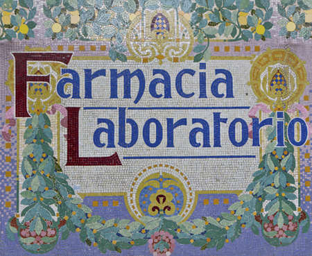 mosaic Pharmacy Lab Sign in Barcelona photo