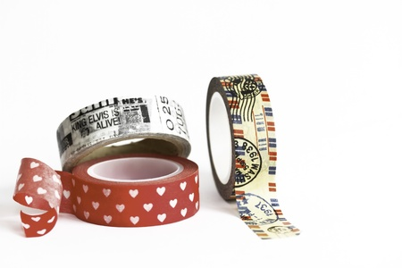 masking tape: Japanese Washi Masking Tape: Vintage Airmail,Hearts and Newspaper