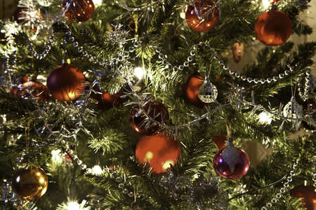 beautiful christmas tree on dark background Stock Photo