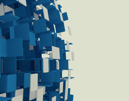 3D render of abstract blue cubes Stock Photo - 18421561