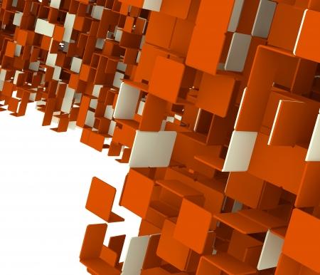 3D render of abstractorange  cubes