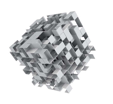 3D render of abstract grey cubes photo