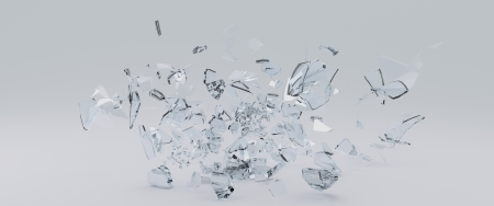 shard of glass:   3D Render of glass shards scattered across the  surface