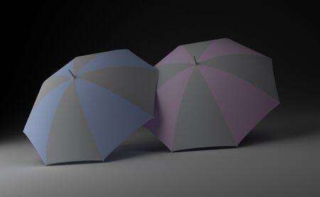 couple in rain: Two lonely umbrellas ondark background. 3D render.
