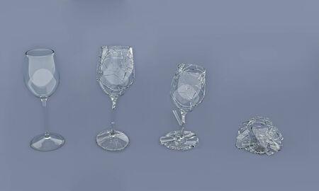slow motion:   3D Render of breaking wine glass Stock Photo