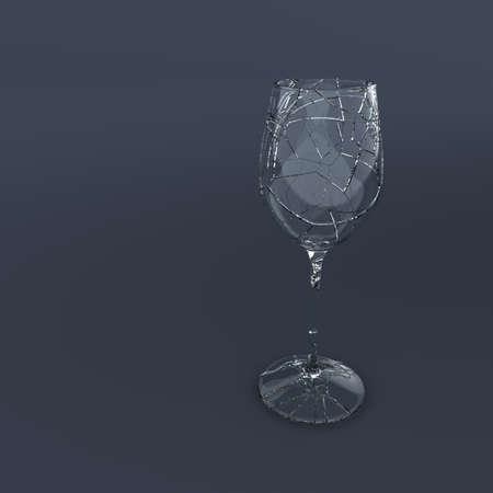 3D Render of broken wein glass  Stock fotó