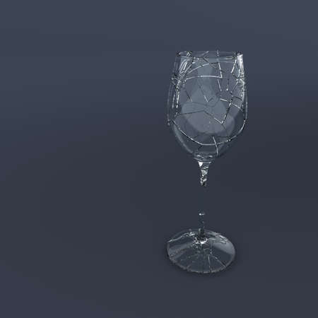 splinters:   3D Render of broken wein glass  Stock Photo