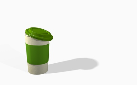 takeout: Take-out coffee with cup holder. Isolated on a white Stock Photo