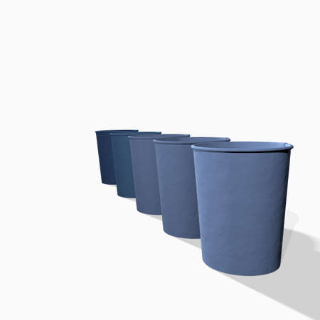 3d rendering of different color paper cups on white background photo