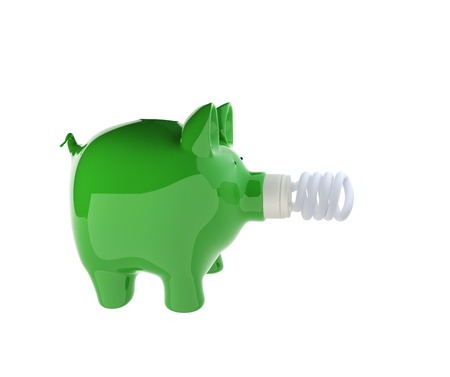 3d rendering of ceramic piggy bank with efficient light bulb, for ecology, energy concepts  photo