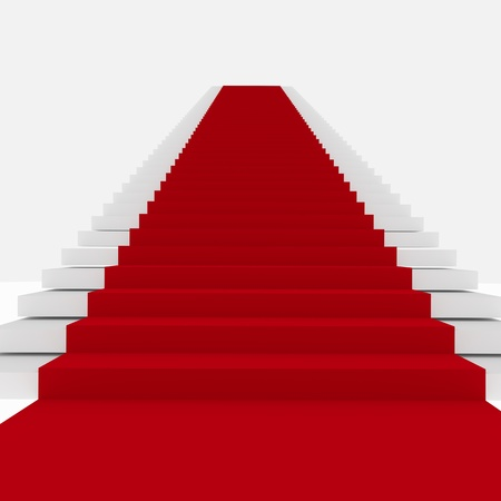 Rendering of Red Carpet Stairs - Stairway to Fame Stock Photo