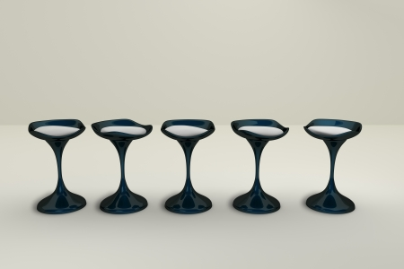 3D rendering of five modern chairs in a row