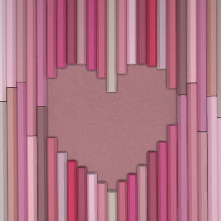 paper packing: Rendering 3D de l�pices en forma de coraz�n en fondo de papel de embalaje