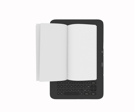 E-reader or tablet pc with blank page flipping effect.  photo