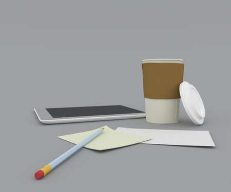 Coffee cup on contemporary workplace with tablet computer and office supplies