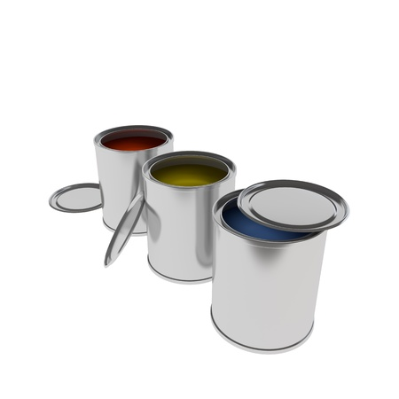 paintbucket: 3d rendering of Paint Cans isolated on white Stock Photo