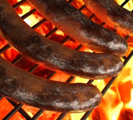 chorizos asados: Primer plano de tres salchichas a la parrilla