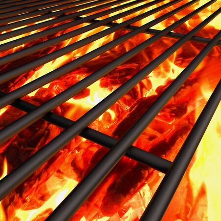 charcoal fire grill, close up with  flames Stock Photo