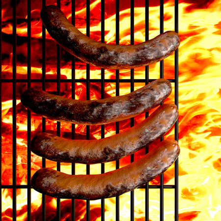 Close-up of  sausages on the grill