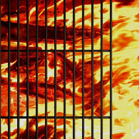 bbq grill: charcoal fire grill, close up with  flames Stock Photo