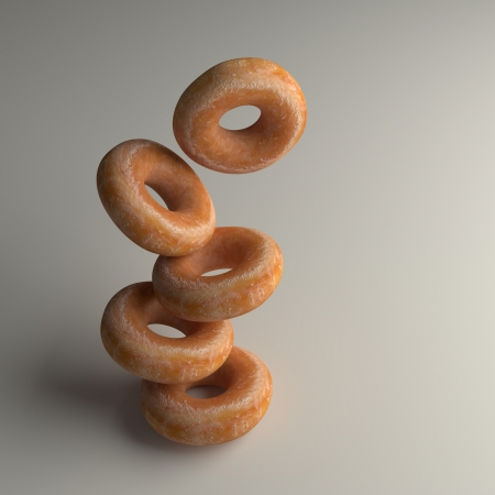 a pile of donuts. 3D rendering Stock Photo
