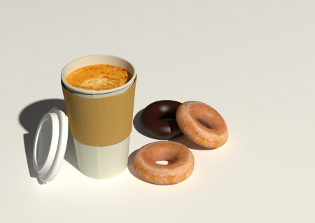 3D rendering of coffee to go and 3 doughnuts