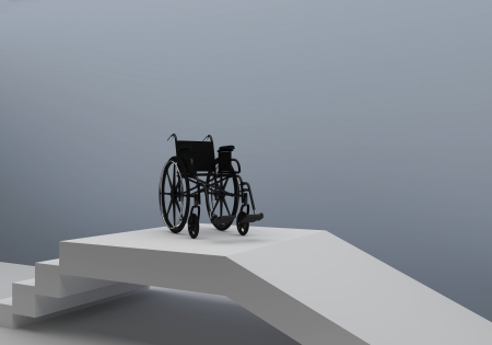 wheelchair access: Problems of people with disabilities Stock Photo