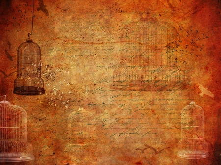 Vintage grunge background with birds and old bird cage photo