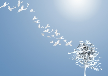 Crows fly away from the tree. 3d rendering
