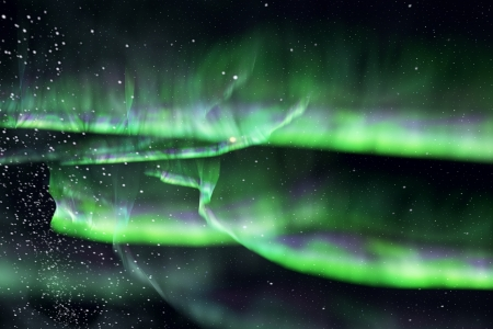 magnetosphere: beautiful sky with green aurora in the night. Stock Photo
