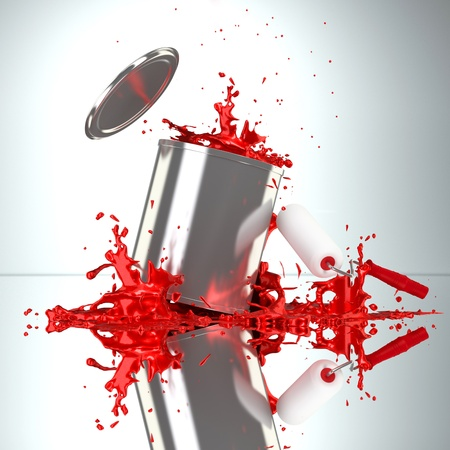 roller brush: Falling paint can bursts red color splash  Stock Photo