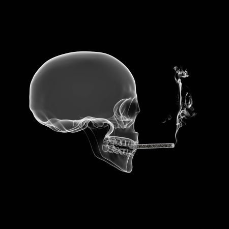 Human Skull isolated on black with cigarette X-ray effect  photo