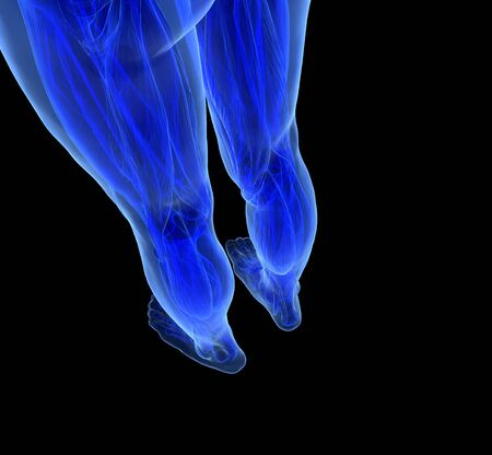 Human feet under X-rays isolated on black.  photo