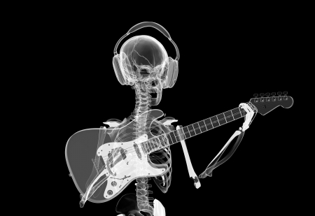 xray Skeleton in headphones playing guitar