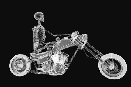 3d rendering of a skeleton biker with x-ray effect