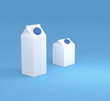 cold pack: 3D illustration of box or cartons of milk. Stock Photo