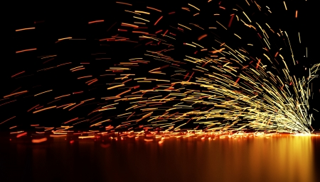 Warm tone background of defocused  lights and sparks