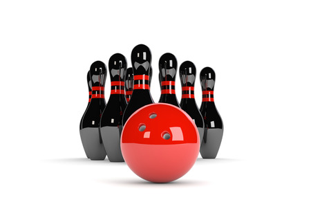 bowling ball: 3D illustration of ten pins  skittles with red bowling ball