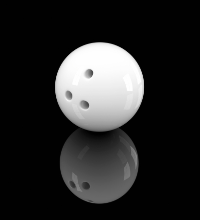 bowling ball: 3D illustration of white bowling ball on black background