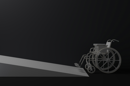 wheelchair access:  3D render illustration of wheelchair in front of ramp