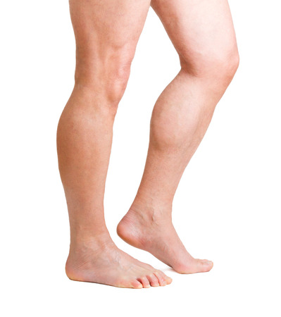 male hairy legs isolated on white background Stock Photo