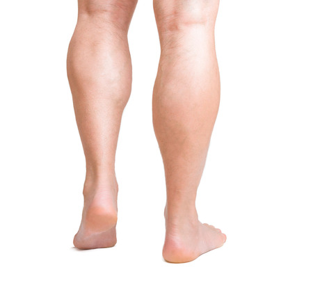 male hairy legs isolated on white background Standard-Bild
