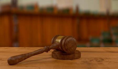 3d rendering of judges gavel on court desk Stock Photo