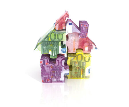 bank note: 3d render of  puzzle house of euro banknotes