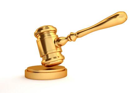 golden judges gavel isolated on white background