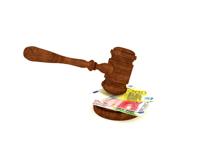auction win: Stacks of money and judges gavel on white background