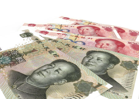 Chinese currencies. Isolated on white background Stock Photo