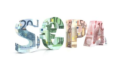 euro area: 3d render illustration of SEPA - Single Euro Payments Area