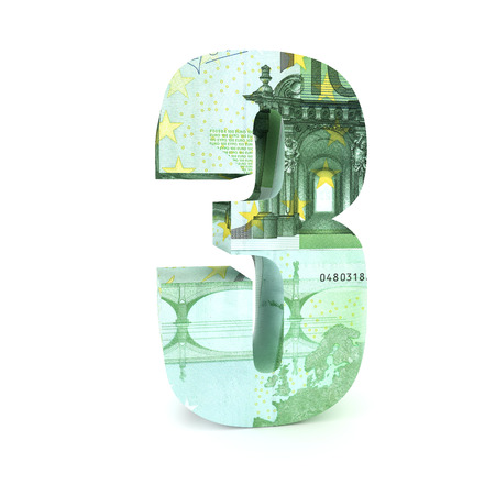 eur: Number 3 made from euro bills isolated on white background
